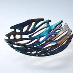 fused glass bowl Fused Glass Bowl, Metallic Colors, House And Home Magazine, Butterfly Wings, Rocks And Minerals, Sea Shells, Color Change, Iridescent, Decorative Bowls