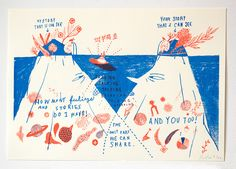 This print from Yeji Yeti Yun struck a chord with me. It's a simple, two or three color risograph, but it feels so thoughtful and strange to me. This print was part of a group show of other a…