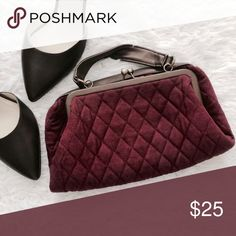 Purple Quilted Clutch/Mini Handbag Super cute vintage! Can be folded to use as a clutch. Kiss lock clasp. Faux leather handles. One inner zipper pocket. Outside and inside is clean.   MEASUREMENTS (laying flat) Length: 9in Width: 10in (max)  ✨MK Brown Leather Guiliana Pumps are also available and can be found in my closet  •USE OFFER FEATURE TO NEGOTIATE  •BUNDLE TO SAVE  •NO OUTSIDE TRANSACTIONS •NO TRADES Bags Clutches & Wristlets