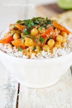 A quick and simple creamy curry dish with chickpeas, veggies, and a hint of coconut! Ready in just 20 minutes, plus it's healthy!