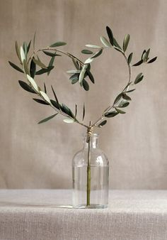 Olive Leaf Heart Centerpiece Knock Knock Who's There? Olive Who? Olive You. Deco Floral, Arte Floral, Pinterest Valentines, Olive Wedding, Olive Branch Wedding, Valentines Day Hearts, Olive Tree, Wedding Table, Wedding Rustic