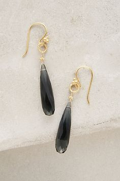 Nightrain Earrings #anthropologie Faceted quartz drops from Robindira add elegance to day-to-night looks
