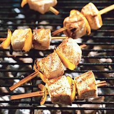Fish Kebabs  All you need to add flavor to grilled fresh fish are lemons, olive oil, a fresh herb, salt and pepper. Make this your go-to recipe for grilling any type of firm-fleshed fish.