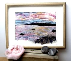 Candyfloss Framed Wet Felted Painting with Machine by FeltIsle