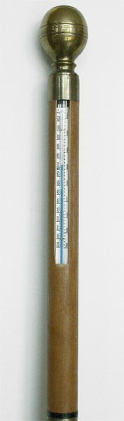 Unique Brass Handled Cane with Built in Thermometer - click to enlarge.