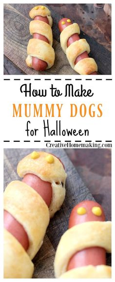 How to make easy Halloween mummy dogs with hot dogs and crescent roll dough.