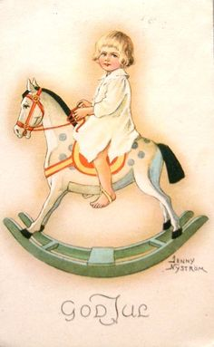 Norwegian Christmas card of Victorian boy on his rocking horse.  God Jue.