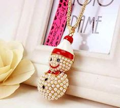 N318 New Betsey Johnson Christmas Snowman beautiful Pearl Pendant Necklace - http://designerjewelrygalleria.com/betsey-johnson/n318-new-betsey-johnson-christmas-snowman-beautiful-pearl-pendant-necklace/