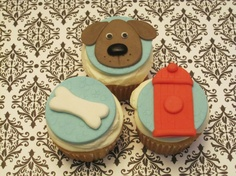 Puppy party trio dog, fire hydrant & bone cucpake topper. $15.00, via Etsy.