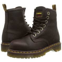 Dr. Martens Work 7B10 ST 7 Eye Boot (Bark) Work Boots ($135) ❤ liked on Polyvore featuring shoes, boots, ankle boots, dr martens boots, safety toe boots, leather steel toe boots and yellow boots