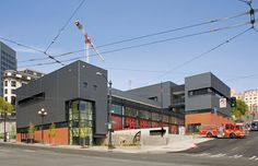 Exterior image of Fire Station 10 Exterior Design, Interior And Exterior, Seattle, Construction Group, Washington, Fire Department, School Design, Fire Trucks, Multi Story Building