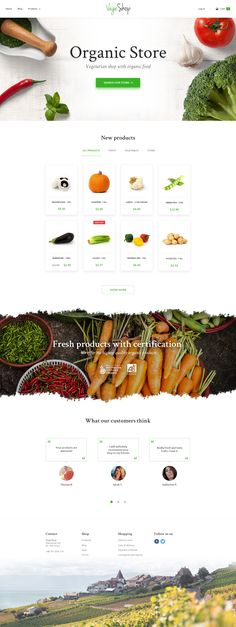 Organic store layout home page