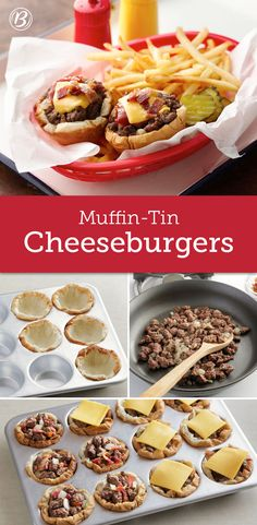 Muffin-Tin Cheeseburgers Who needs drive-through when you can have these cute and easy cheeseburger cups ready in 45 minutes? This fun muffin-tin meal is sure to satisfy! To make it your own, instead of mustard or Sriracha, use barbecue sauce. Or in place Good Food, Yummy Food, Tasty, Cheeseburger Cups, Muffin Pan Recipes, Kids Meals, Easy Meals, Beef Recipes, Cooking Recipes