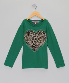Green & Brown Rhinestone Leopard Heart Tee by Yom Yom on #zulily