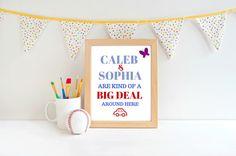 """Caleb & Sophia Art Print. Caleb JW Kids Room Print. 8 x 10 """" Art Print. JW decor. – I Shop JW"""
