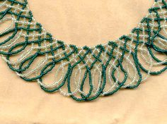BOOK OF KELLS: Celtic Knot Netted Fringed Beaded Necklace