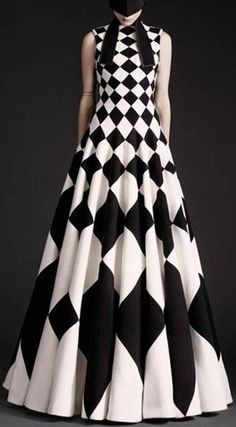Black & White Geometric Print Gown