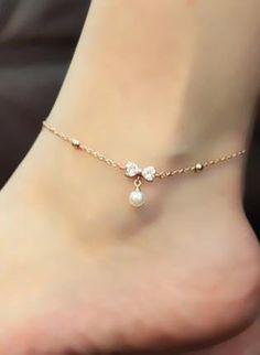 Rose Golden Bowknot Pearl Anklet