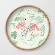 Flamingo Love Tropical Wall Clock