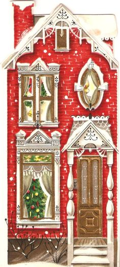 Pretty House Vintage Christmas Card SALE