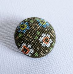 Vintage Fabric Look Brown Glass Button by ButtonsFromTheAttic, $4.00
