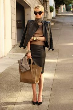 Black leather skirt,jacket,pumps and handbag   love this look   skirt    work outfit   stylish   neutral   hairstyle   celine bag   leather jacket    chic ... 145853d008