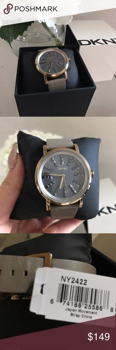 New DKNY Women's Watch NY2422 Brown Grey Leather Brand New Hard To Find DKNY Donna Karen Soho Three Hand Leather Ban Women's Watch. Model NY2422 . Light Brown Strap DKNY Accessories Watches