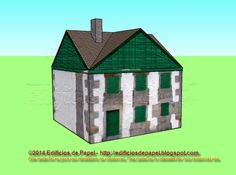 Paper model of the big house in green All scales available
