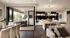 Aluminium corner bifold doors are a great choice to create a unique feature in any style of home, making a bold statement both visually and functionally. Kitchen Dining Living, Home Living Room, Living Spaces, Narrow Kitchen, Corner Bifold Doors, Stacker Doors, Carlisle Homes, Finding A House, Home Kitchens