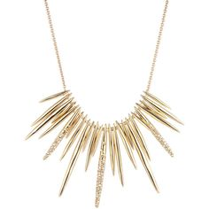 Alexis Bittar Golden Crystal Spike Bib Necklace ($245) ❤ liked on Polyvore featuring jewelry, necklaces, accessories, colar, collares, gold, spike collar necklace, collar necklaces, spike necklace and druzy jewelry