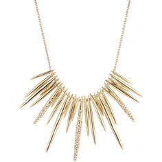 Alexis Bittar Golden Crystal Spike Bib Necklace found on Polyvore