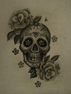 sugar skull tattoo idea... zen sugar skull... cherry blossom petals and peacock feathers