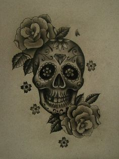 sugar skull tattoo idea... zen sugar skull... cherry blossom petals and peacock feathers