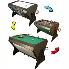 Beau 3 In 1 Game Table (Foosball, Pool And Air Hockey)