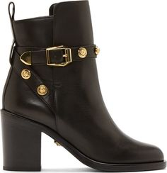 Versace Black Leather Logo Studded Ankle Boots on shopstyle.com