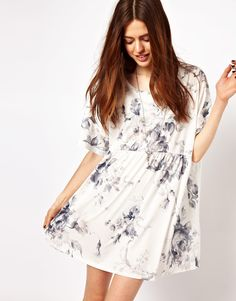 ASOS Smock Dress In Oversized Floral Print