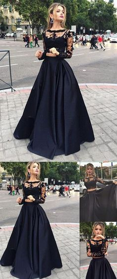2016 prom dress,New arrival prom dress,Black lace prom dress,Two pieces prom dress,Long sleeves prom dress,Satin prom dress,
