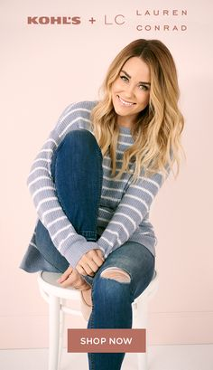 Find new arrivals from LC Lauren Conrad at Kohl's. Pair a striped sweater with ripped jeans for a cozy winter look. Shop the latest styles to create your new favorite outfit in stores and on Kohls.com. #lclaurenconrad #outfitideas