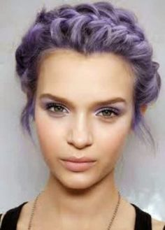 Short Curled Hairstyle with Braid Half Updo Pastel-Hair-Color.jp