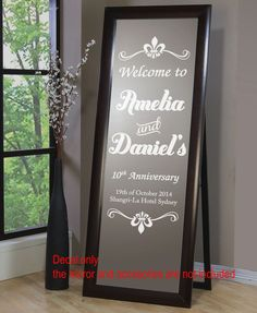 Wedding Engagement Anniversary Welcome Sign Wall Mirror Decal Sticker Removable