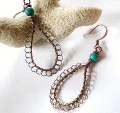 Copper Tear Drop Hoops Earrings Lacy Wire Weave Turquoise Accent Bead | JewelryArtByDawn - Jewelry on ArtFire