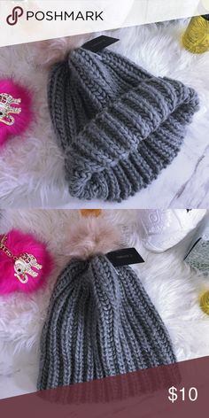 Fluff ball Beanie Super cute gray color from forever21 Forever 21 Accessories Hats
