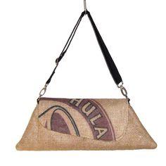 Burlap kona coffee bag purse.