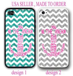 NEW TEAL SILVER CHEVRON YOU'LL BE THE ANCHOR MONOGRAM CASE FOR IPHONE X 8 7 6 SE #UnbrandedGeneric