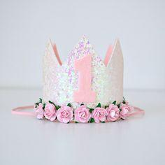 Pink & White 1st Birthday Mini Glitter Flower Crown   Baby Girl   1st Birthday Party   Cake Smash Photo Shoot