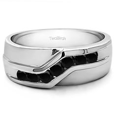 10k Gold Men's Wedding Fashion Ring with 0.13 Carat Black Cubic Zirconia (10k Two Tone Gold, Size 9), Two-Tone