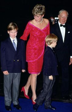 Diana, Princess Of Wales, With Her Sons, Prince William And Prince Harry, Arriving For The 'joy To The World' Concert To Raise Funds For The Royal Marsden Hospital At The Royal Albert Hall.