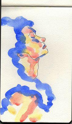Woman watercolor sketch, Moleskine