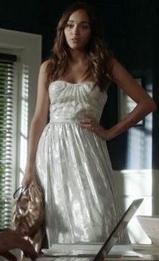 Ashley's strapless silver gown on Revenge.  Outfit Details: http://wornontv.net/9358/ #Revenge