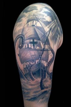 Ship & octopus half sleeve